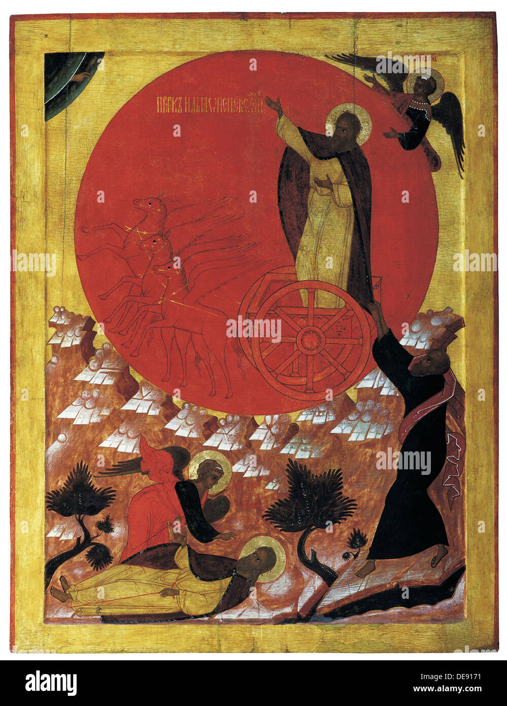 The Prophet Elijah and the Fiery Chariot, 1570s. Artist: Russian icon - Stock Image