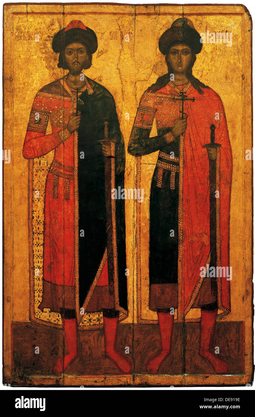 Saints Boris and Gleb, Mid of the 14th cen.. Artist: Russian icon - Stock Image