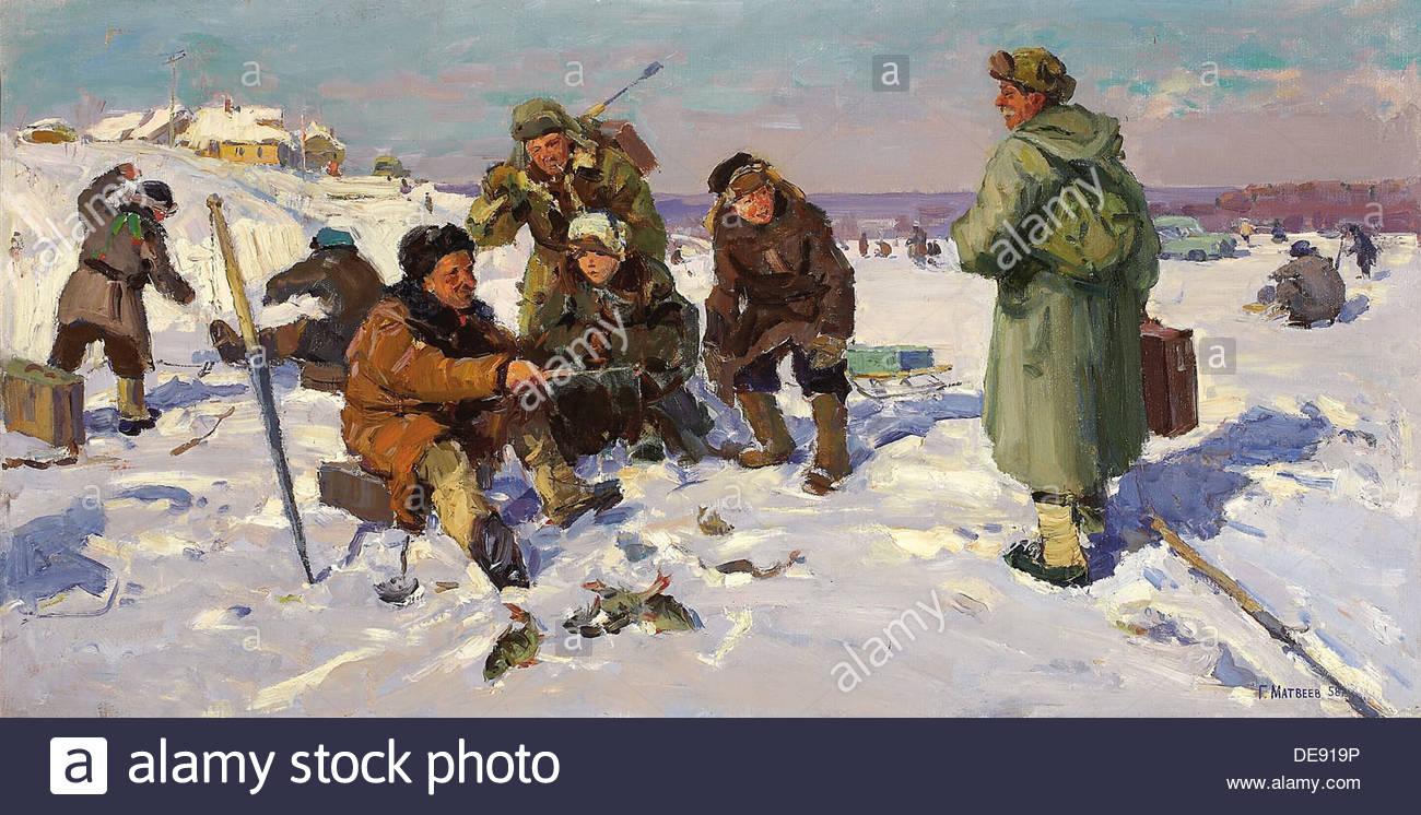 Winter Fishing, 1958. Artist: Matveyev, Gennady (1920-1990) - Stock Image