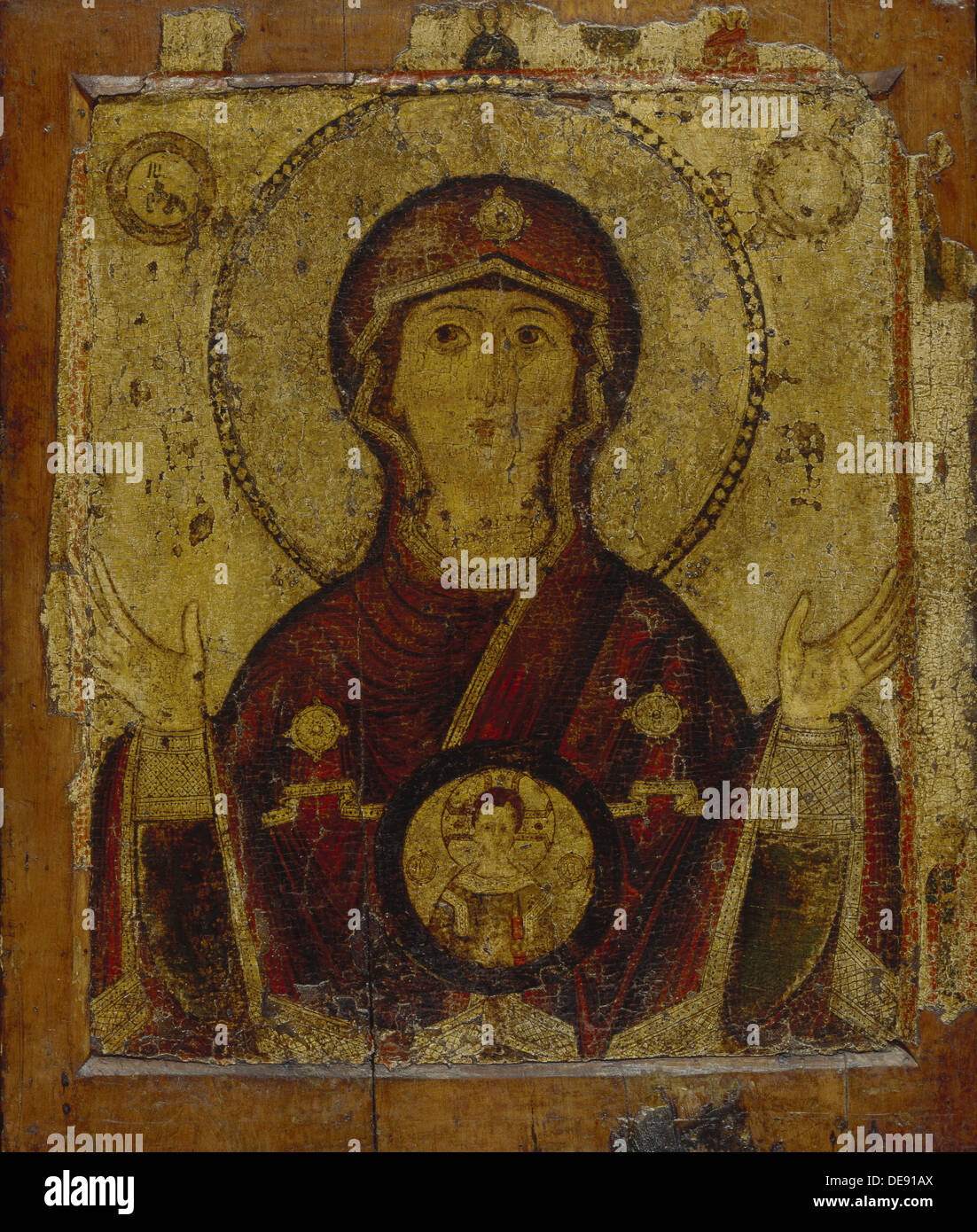 Our Lady of the Sign, Early 13th cen.. Artist: Russian icon - Stock Image