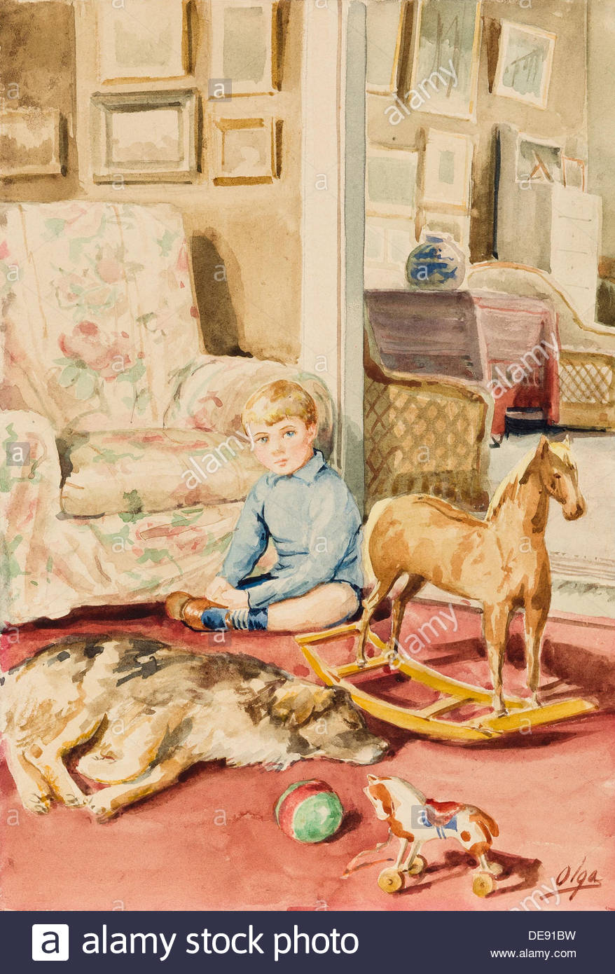 Portrait of the Artist's Son with a Dog and Toys, 1920s. Artist: Olga Alexandrovna of Russia, Grand Duchess - Stock Image
