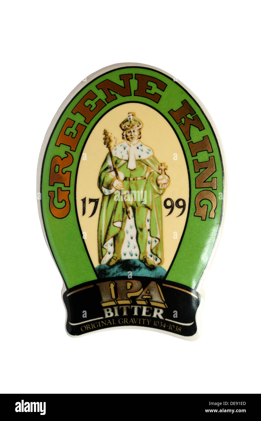 A beer pump clip for Greene King IPA Bitter. - Stock Image
