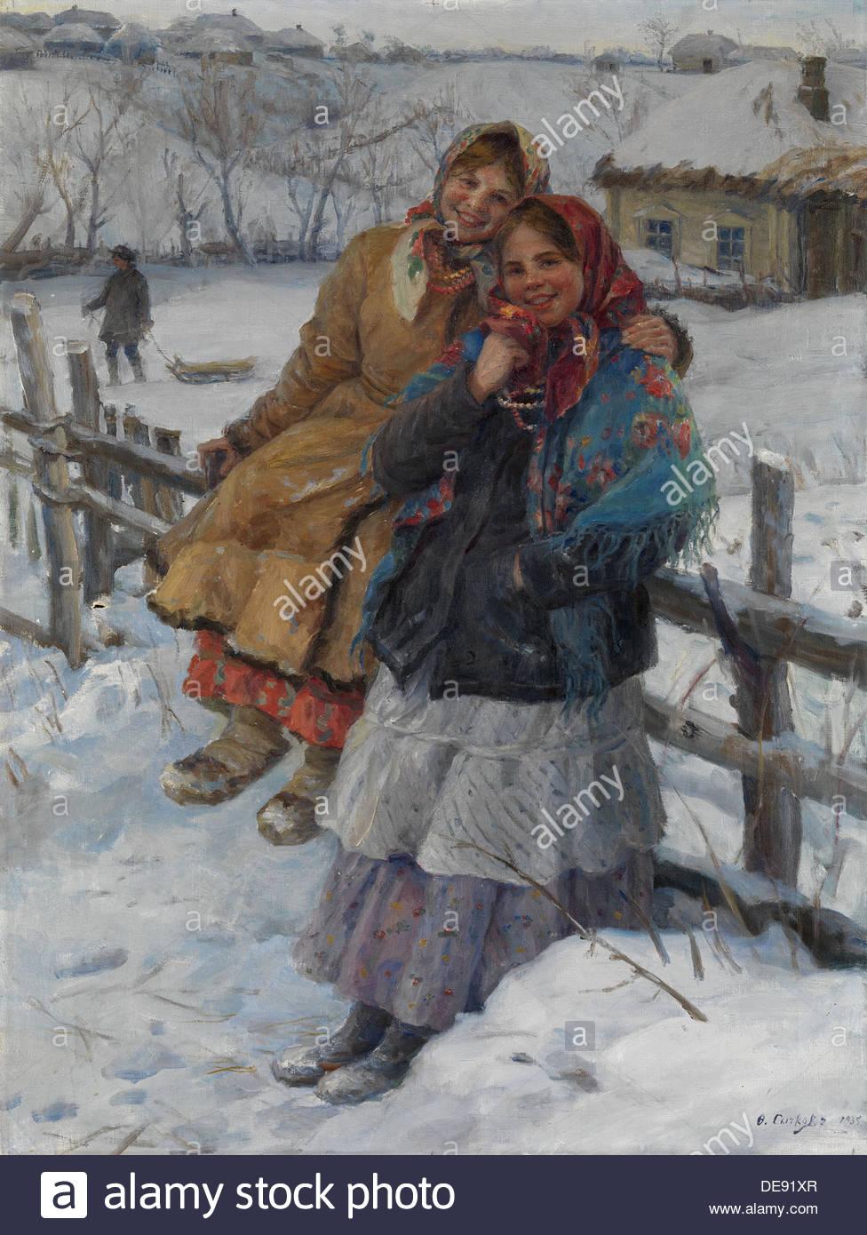 Friends, 1935. Artist: Sychkov, Fedot Vasilyevich (1870-1958) - Stock Image