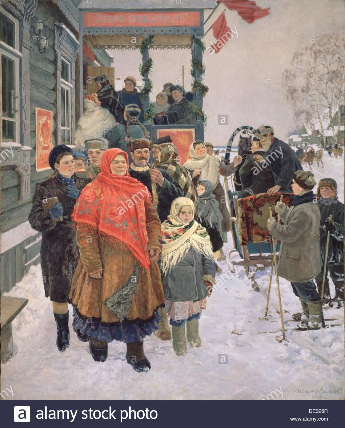 The Election to the Supreme Soviet Soviet of the USSR, 1949. Artist: Volkov, Alexander Vasilyevich (1916-1978) - Stock Image