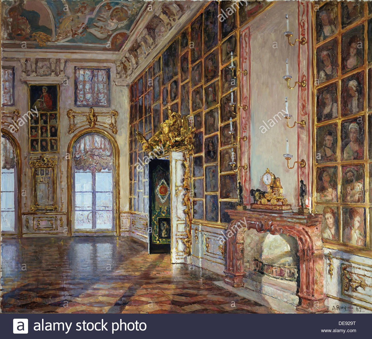 The Portrait Hall in the Great Peterhof Palace, 1967. Artist: Yanush, Leonid Borisovich (1897-1978) - Stock Image