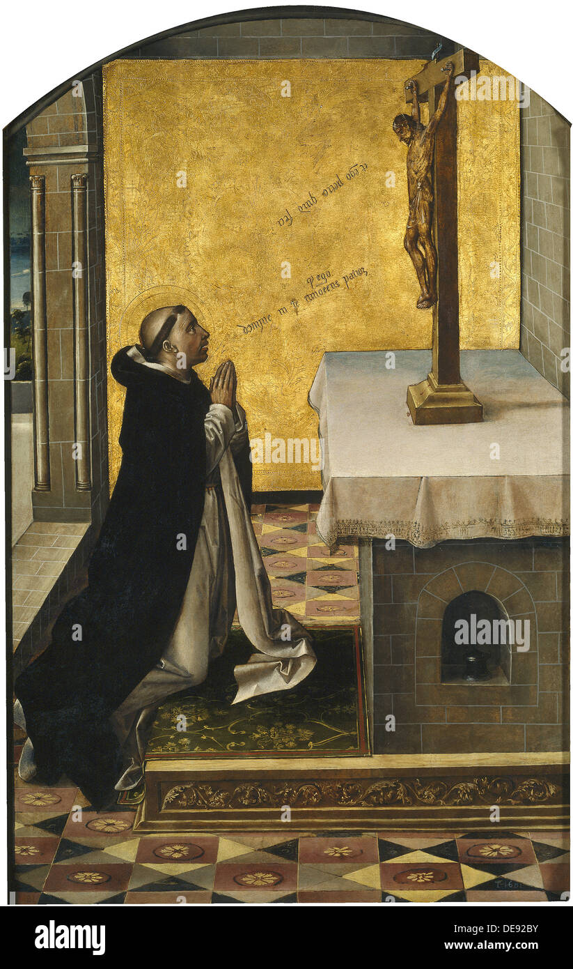 Saint Peter Martyr at Prayer, 1493-1499. Artist: Berruguete, Pedro (1450-1503) - Stock Image