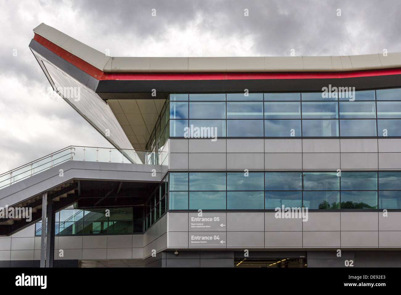 The Wing Pit Building at Silverstone Racing Circuit - Stock Image