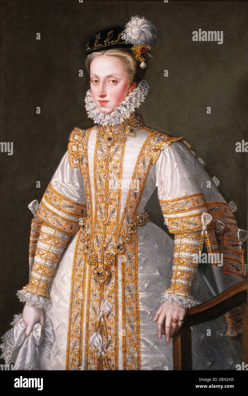 Portrait of Anna of Austria (1549–1580), Queen consort of Spain, 1571. Artist: Coello, Alonso Sánchez (1531-1588) - Stock Image