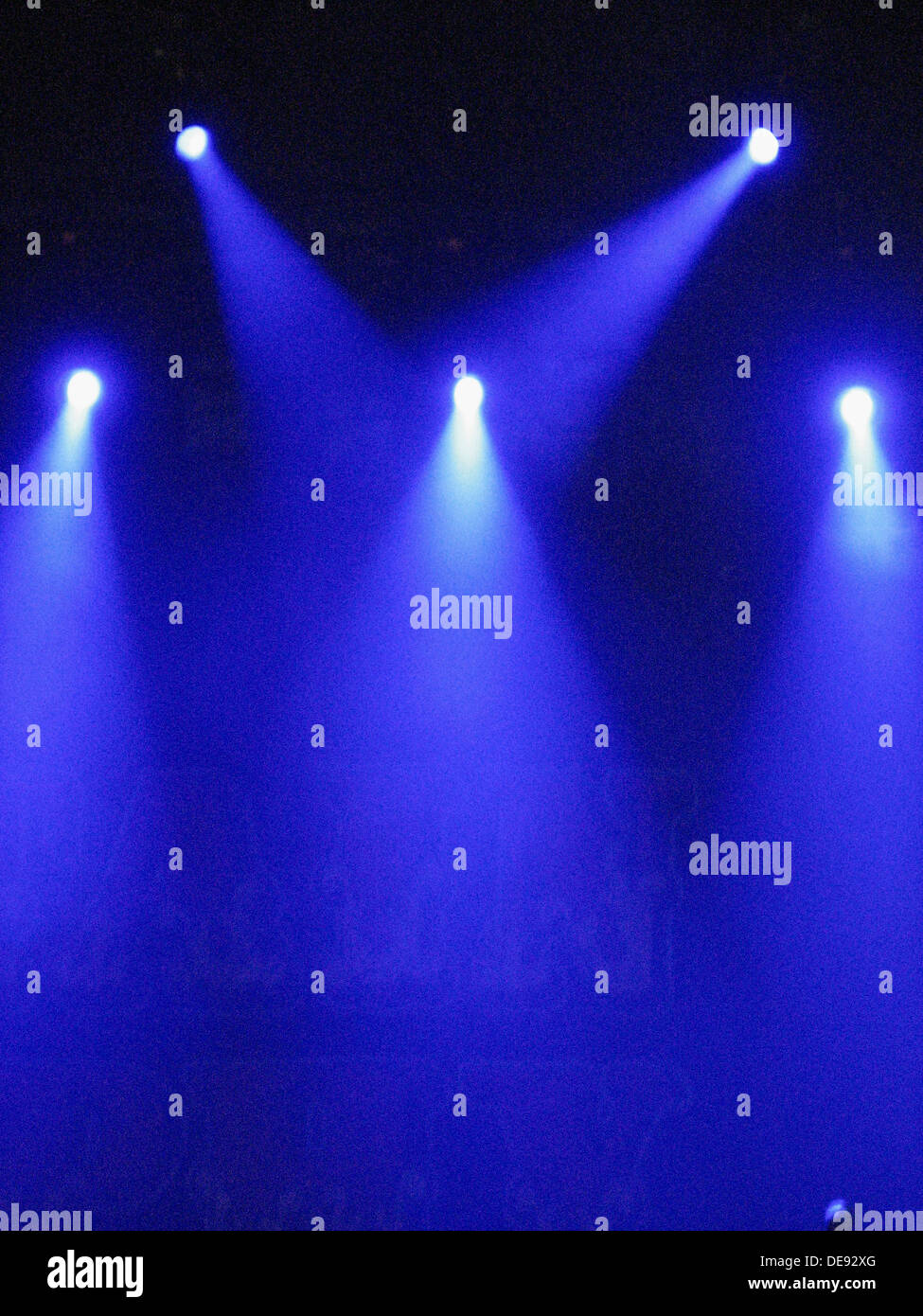 Blue Stage Lights - Stock Image