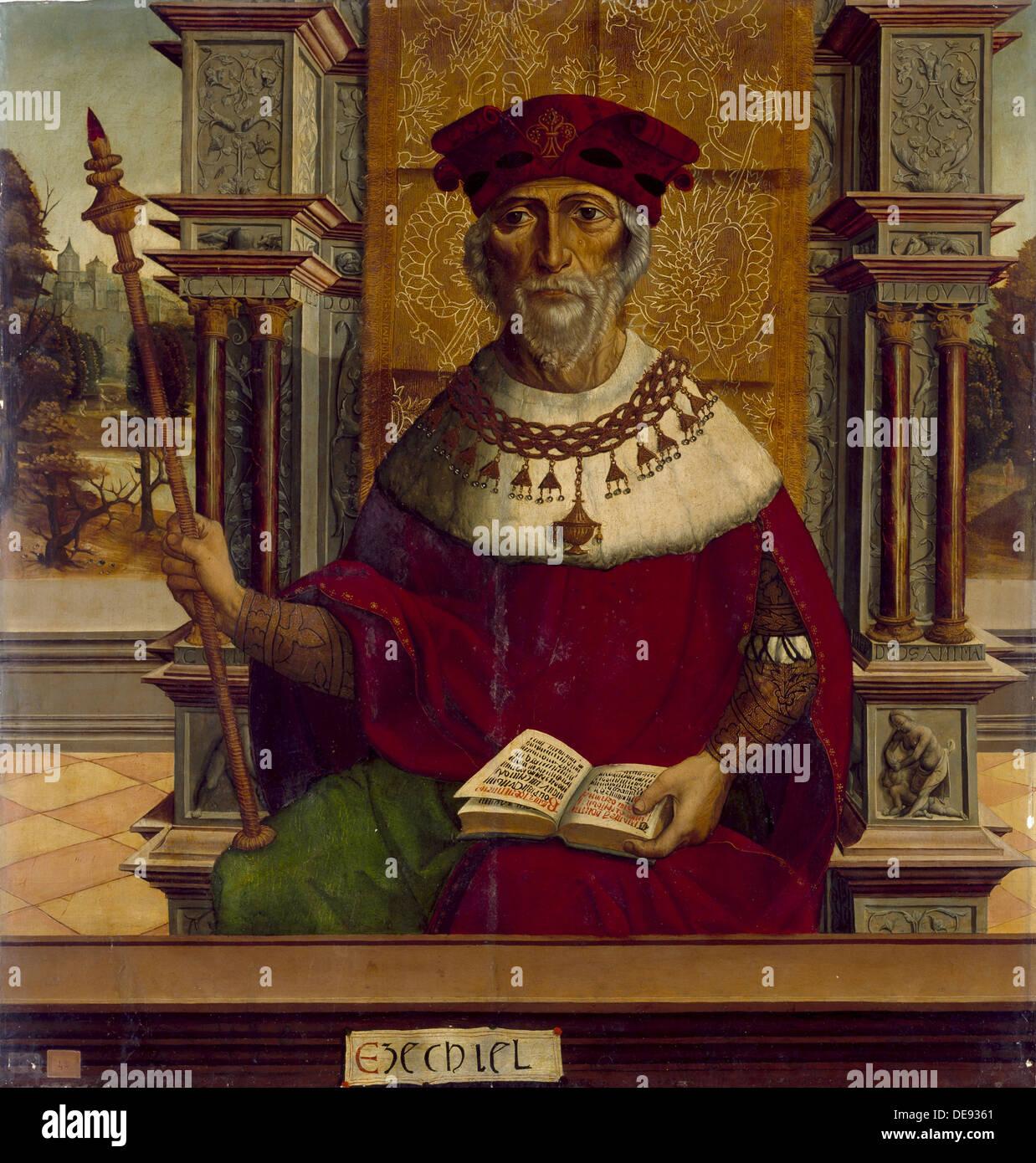 The Prophet Ezekiel, c. 1525. Artist: Maestro de Becerril (active Early 16th-century) - Stock Image