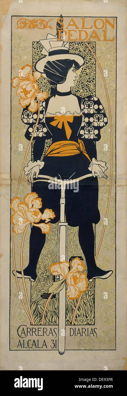 Salon Pedal (Advertising Poster), 1897. Artist: Riquer Inglada, Alejandro de (1856-1920) - Stock Image