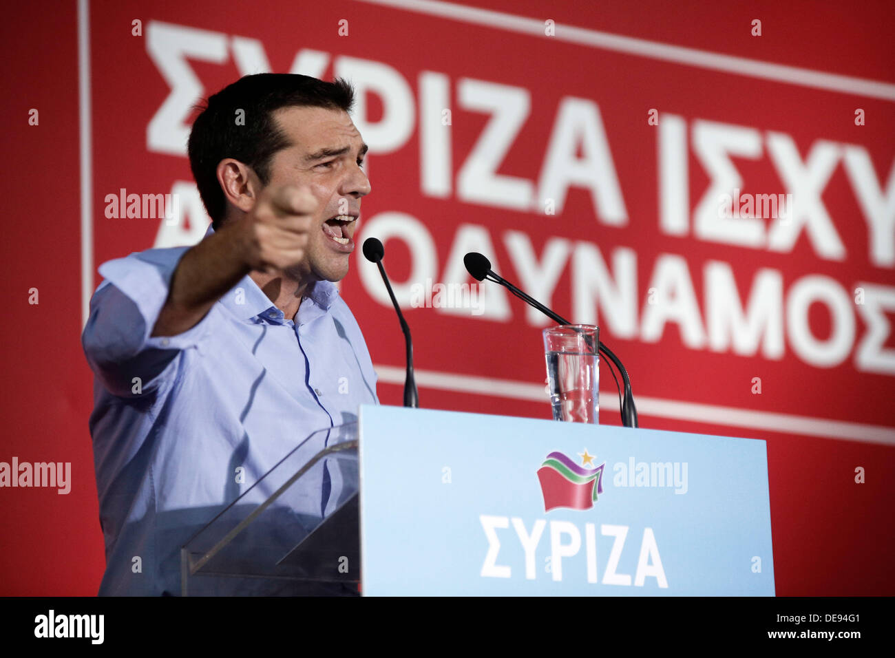 Thessaloniki, Greece . 13th Sep, 2013. Leader of the Greek Opposition party SYRIZA Alexis Tsipras addresses supporters and party members in his keynote speech in open meeting at the White Tower square on the occasion of three-day visit to the 78th TIF. Thessaloniki, Greece on September 13, 2013. Credit:  Konstantinos Tsakalidis/Alamy Live News - Stock Image