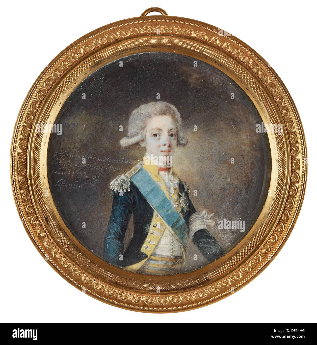 Portrait of Gustav IV Adolf of Sweden, 1792. Artist: Lafrensen, Niclas (1737-1807) - Stock Image