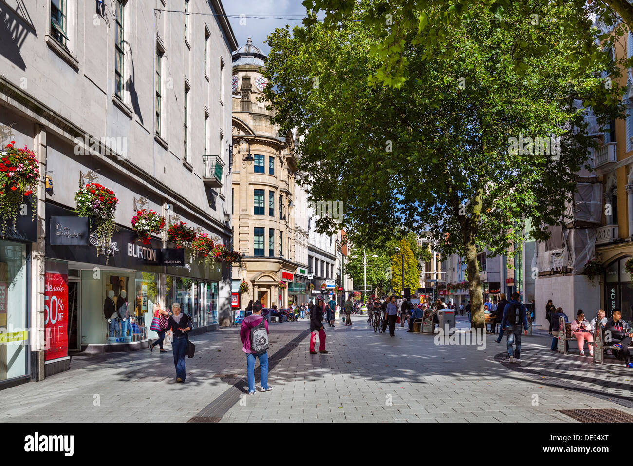 Shops on Queen Street in the city centre, Cardiff, South Glamorgan, Wales, UK Stock Photo