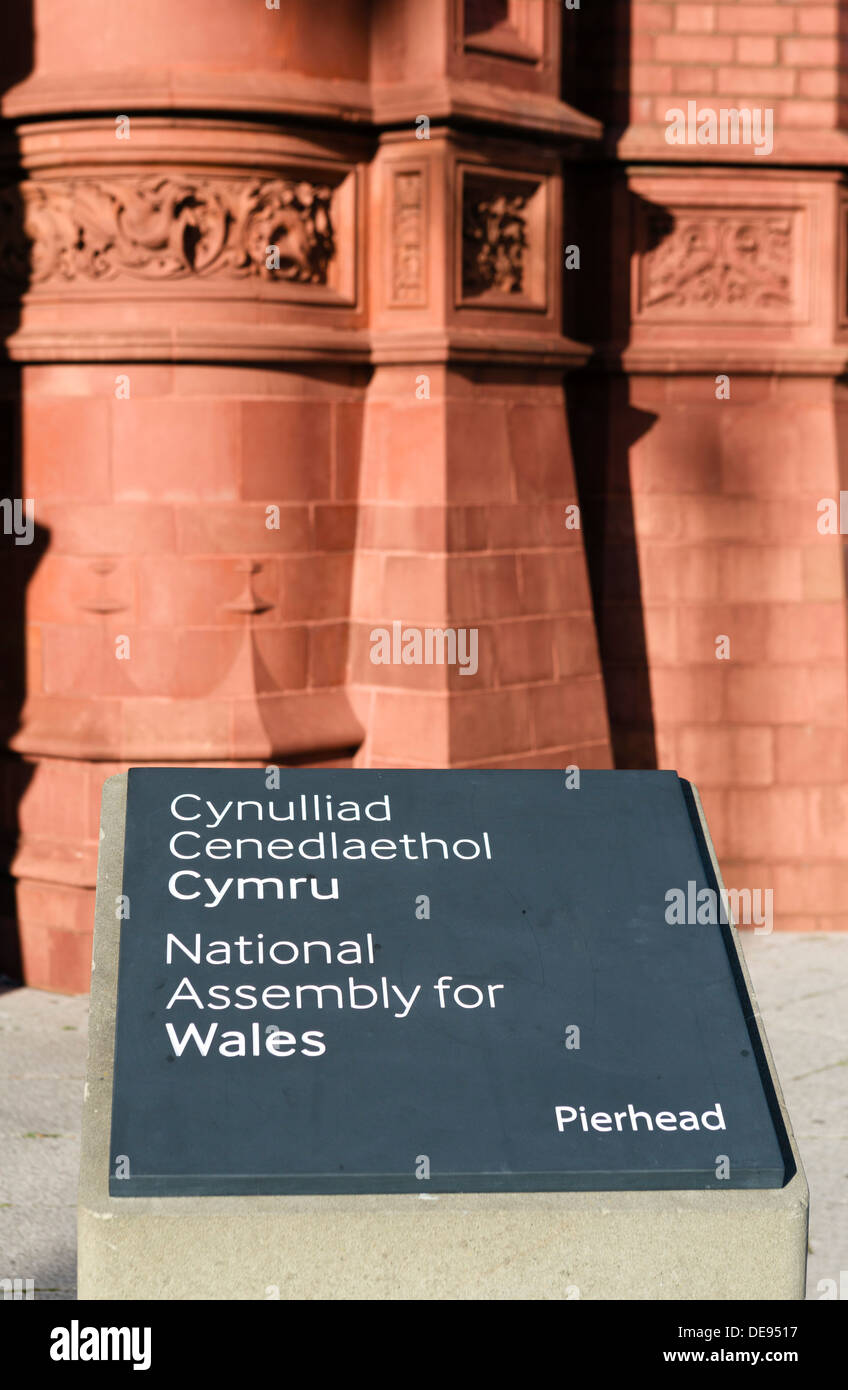 Sign for the National Assembly for Wales outside historic Pierhead Building, Cardiff Bay, Cardiff, South Glamorgan, Wales, UK - Stock Image