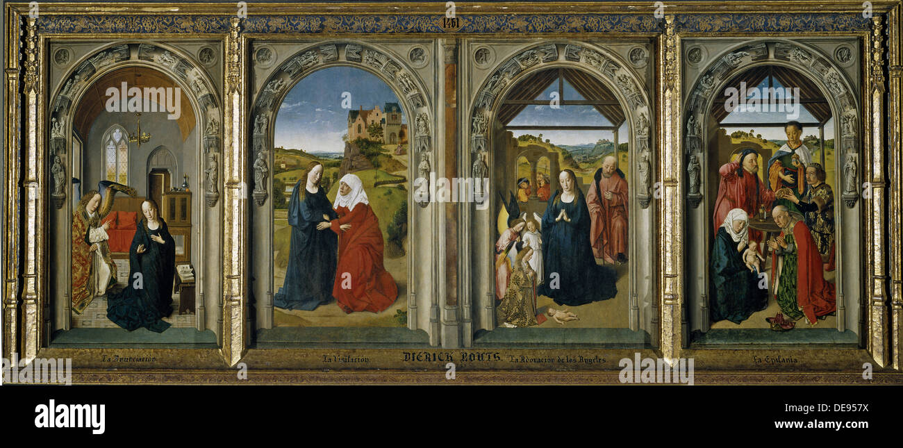Four scenes from the life of the Virgin, ca 1442-1445. Artist: Bouts, Dirk (1410/20-1475) - Stock Image