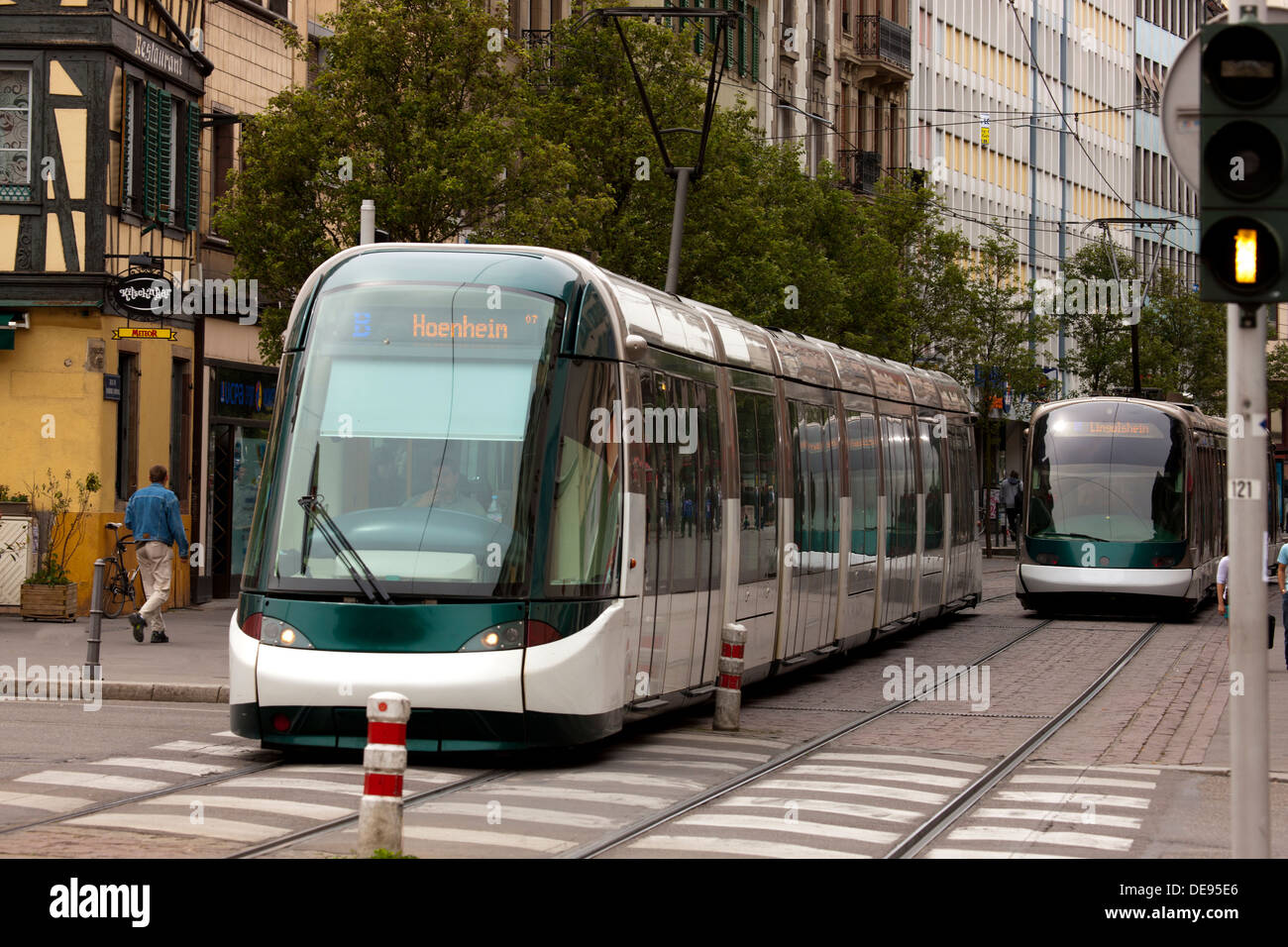 Urban electric trains move people in Strasbourg, France. - Stock Image