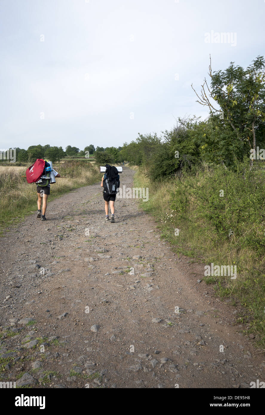 Pilgrims walking the GR65 the Way of St James in France Stock Photo