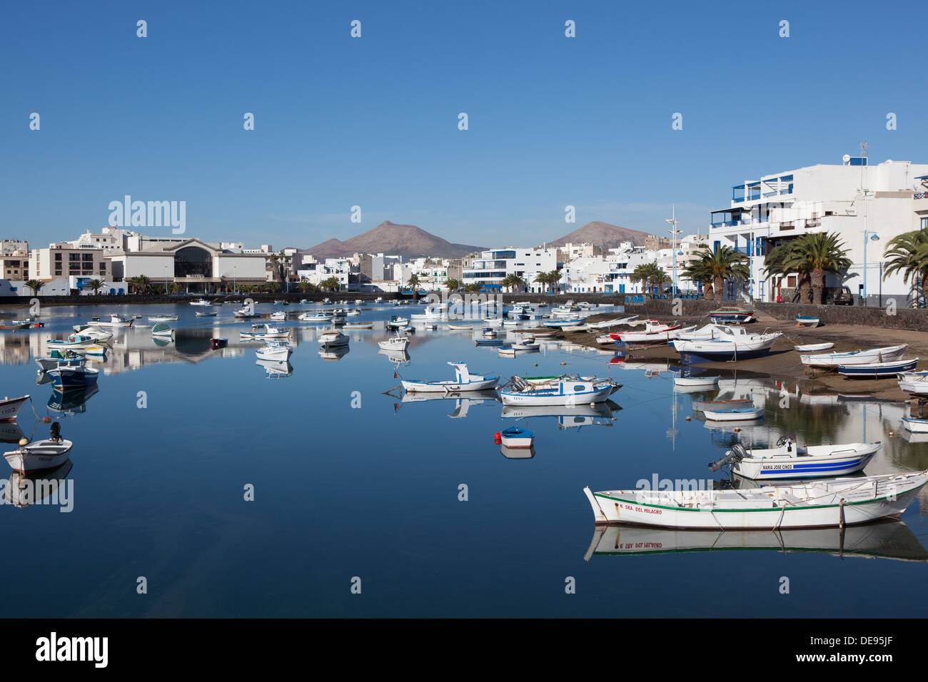 The marina in the city of Arrecife on Lanzarote - Stock Image