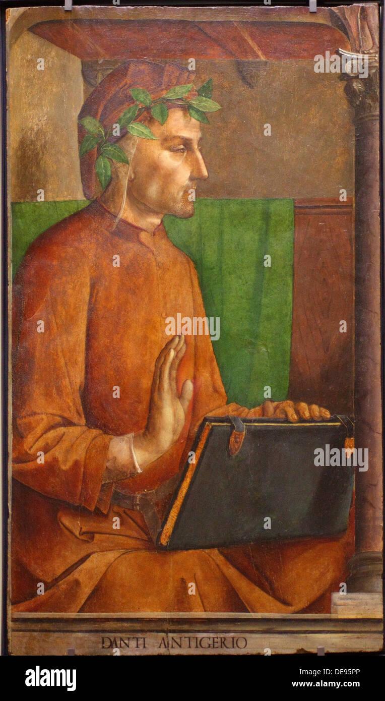 Portrait of Dante Alighieri (1265-1321), 1476. Artist: Justus van Gent (Joos van Wassenhove) (ca 1410-ca 1480) Stock Photo