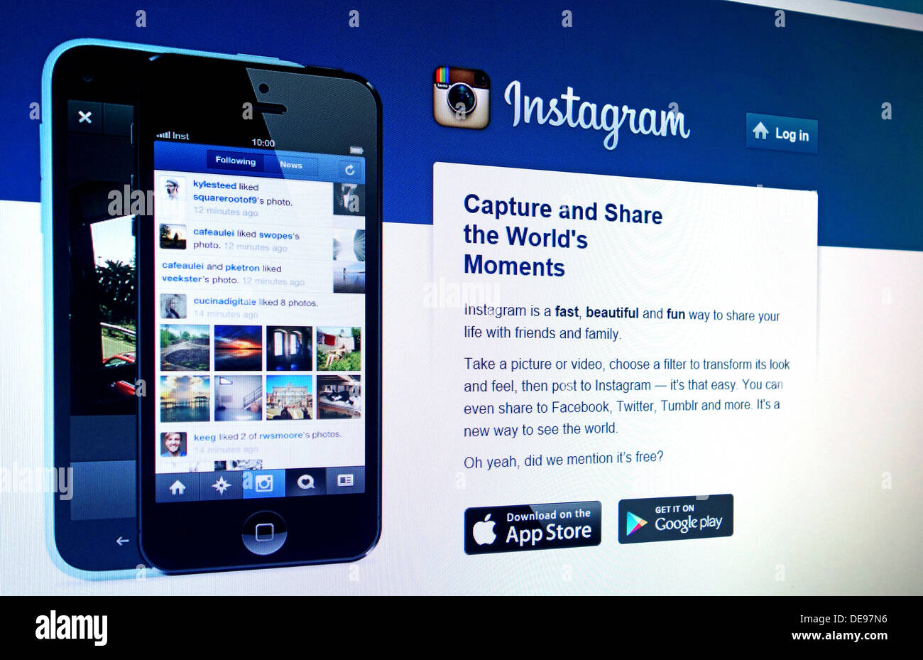 Instagram web site - Stock Image