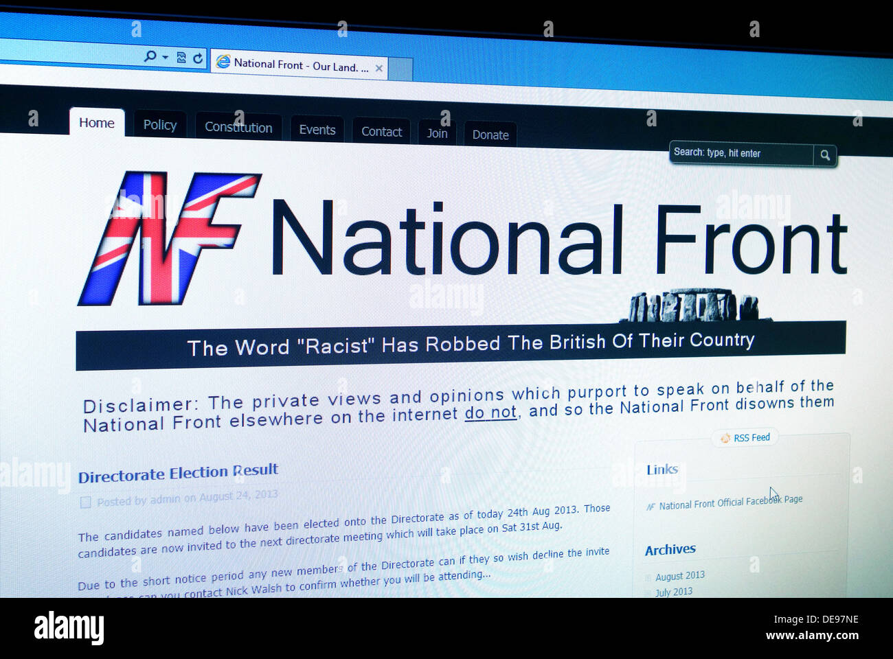 The National Front web site - Stock Image
