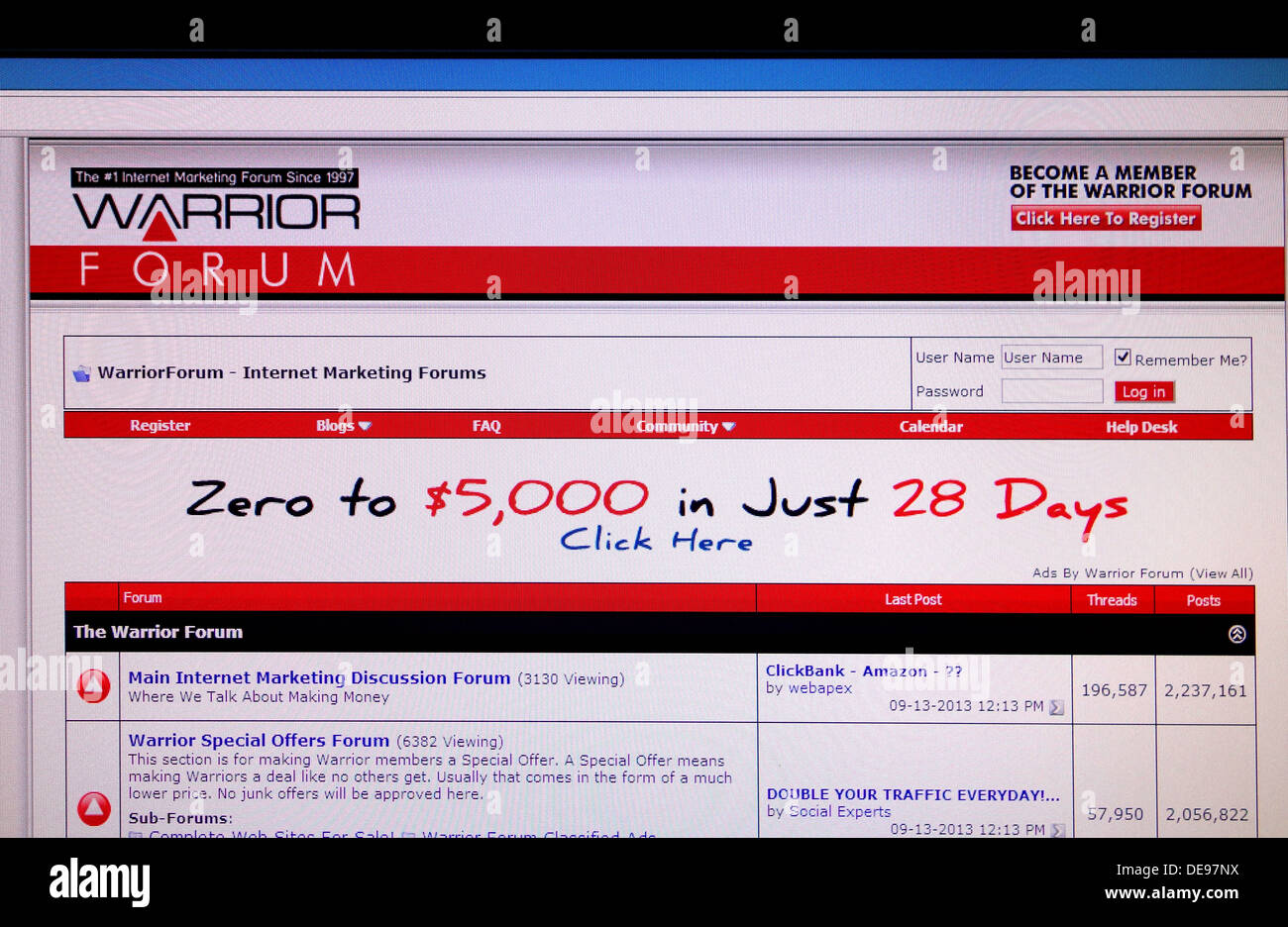 The ' Warrior ' forum web site - Stock Image