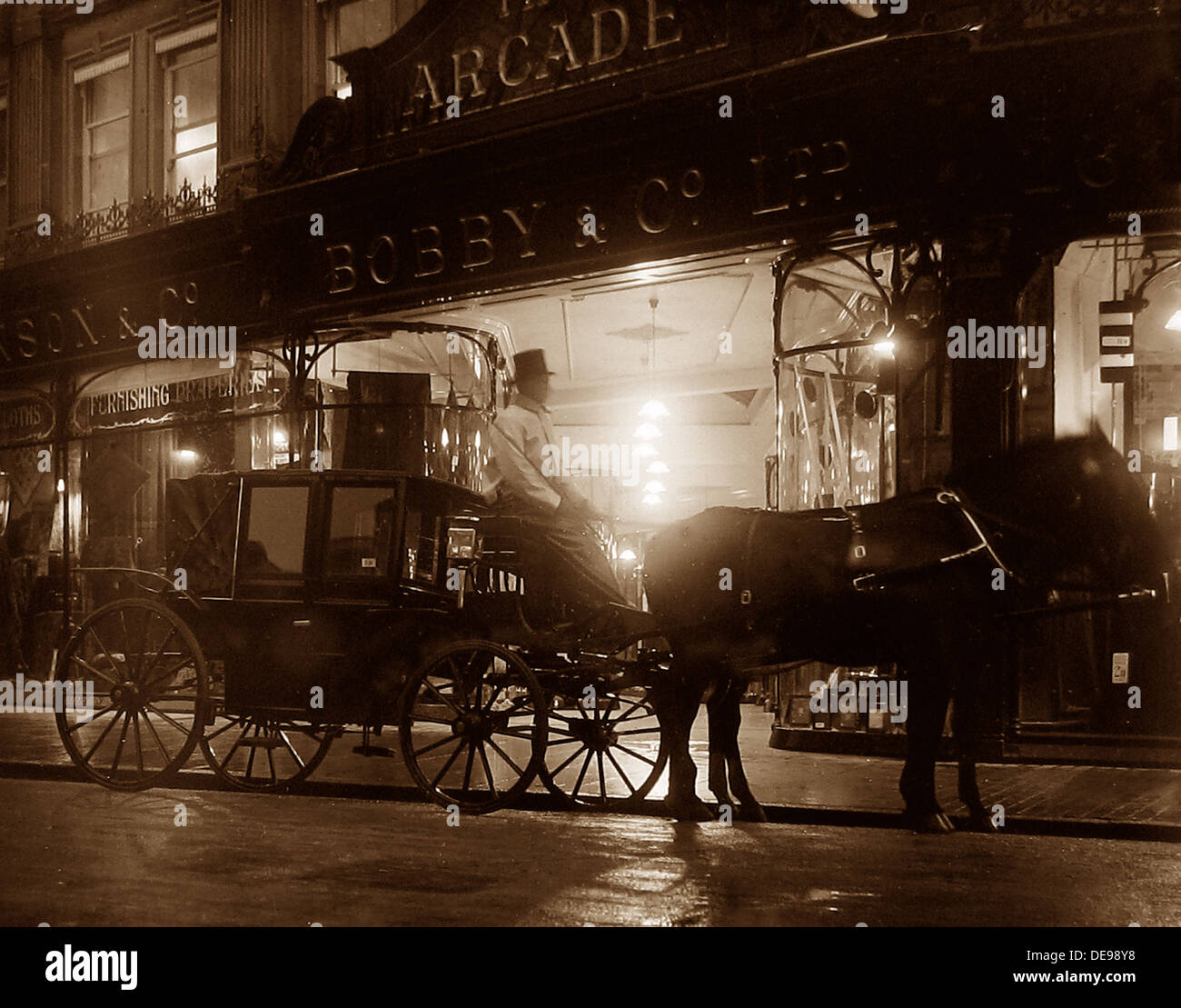 Bobby & Co Ltd Department Store at night Victorian period - Stock Image