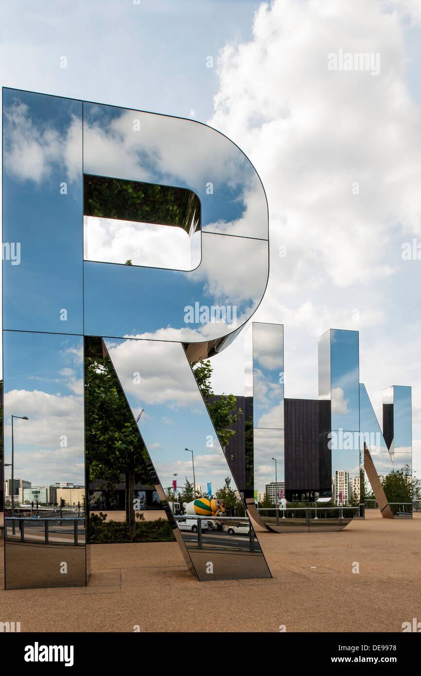 Run Sculpture on plaza of the Copper Box handball arena, Olympic Park, Hackney, London, United Kingdom - Stock Image