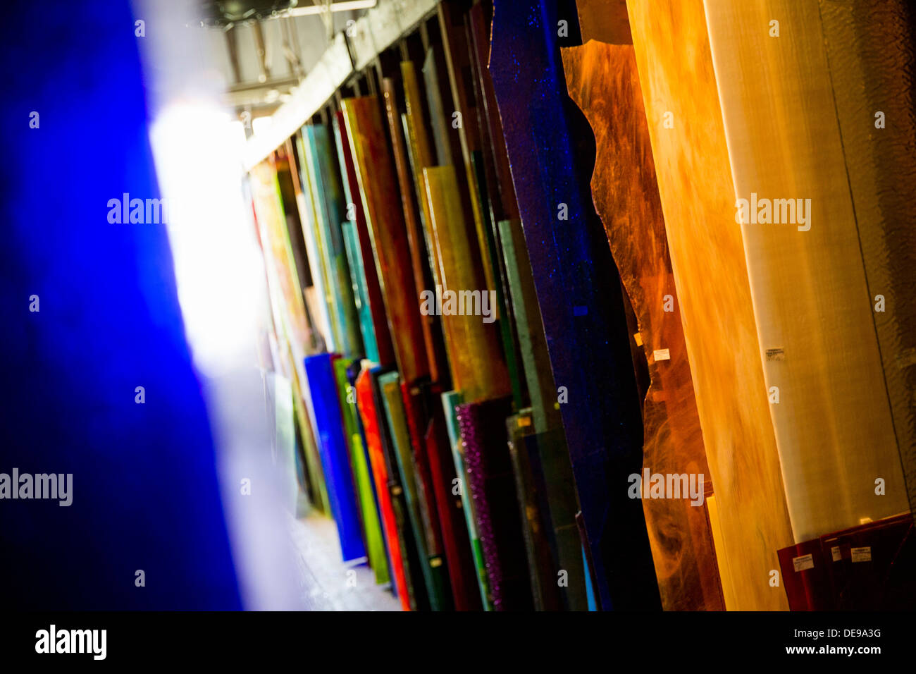Stained glass panels in storage at the Wissmach Glass Company factory.  - Stock Image