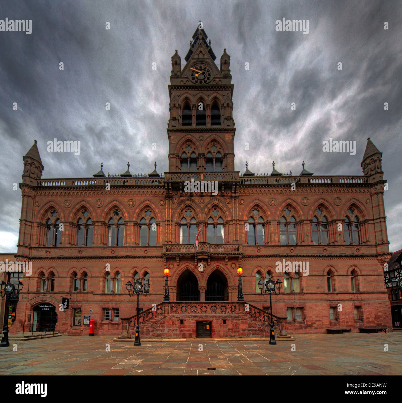 Chester City Town Hall with dramatic gray sky, Cheshire, England, UK - Stock Image