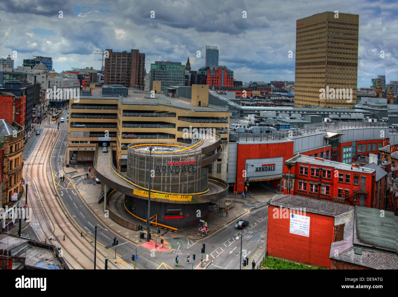 View over Manchester city centre / Arndale looking south, NW England, UK - Stock Image