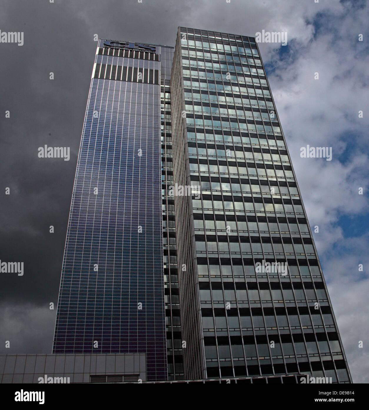 BIPV Solar panels on New Century House, COOP,Manchester, England, UK - Stock Image