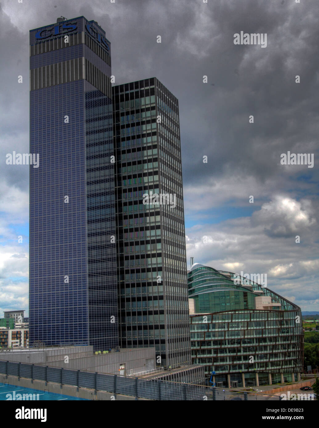 BIPV Solar panels on New Century House, COOP,Manchester, England, UK - Stock Image