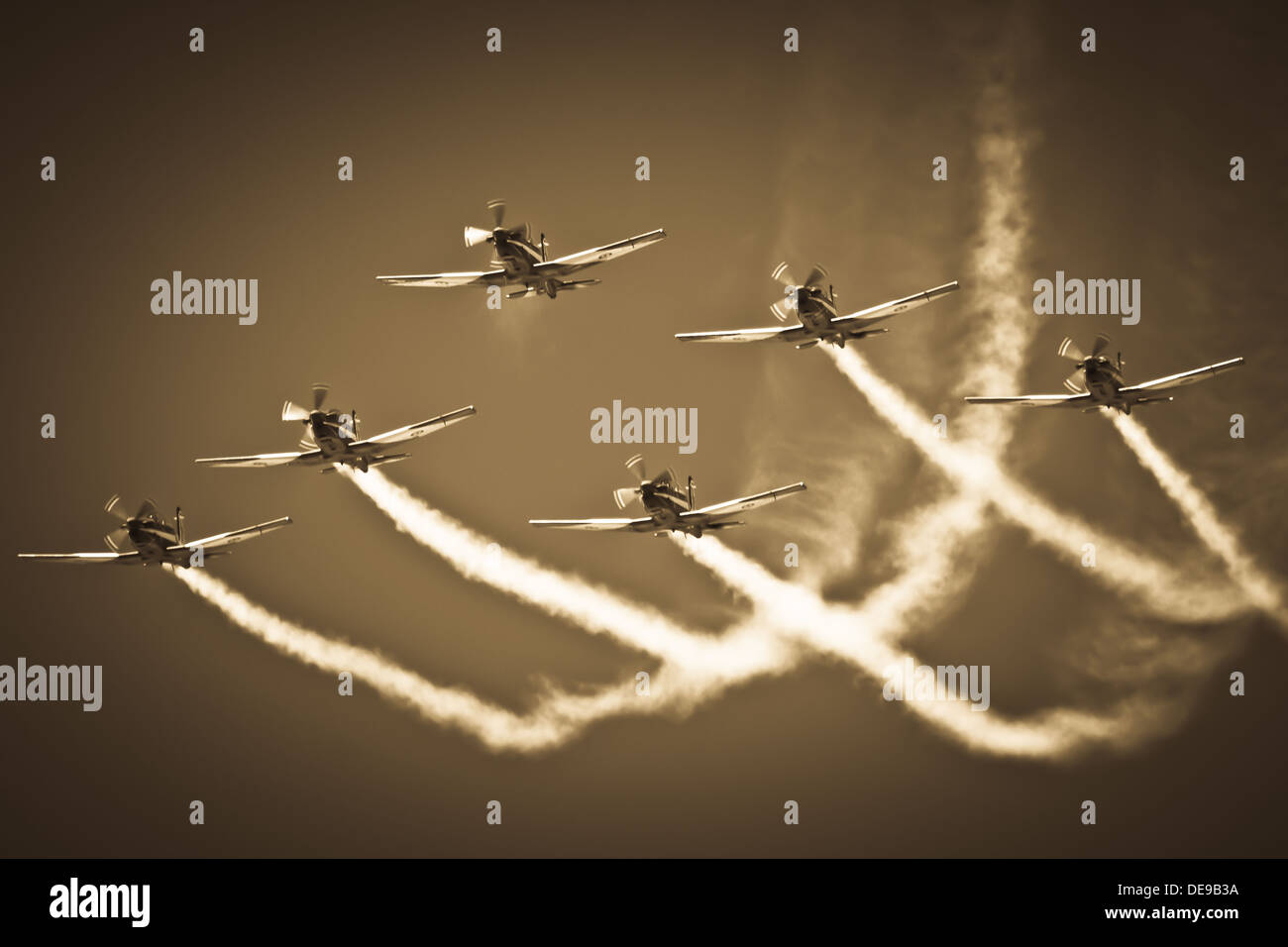Aerobatic Group Formation In Sky During Air Show Stock Photo