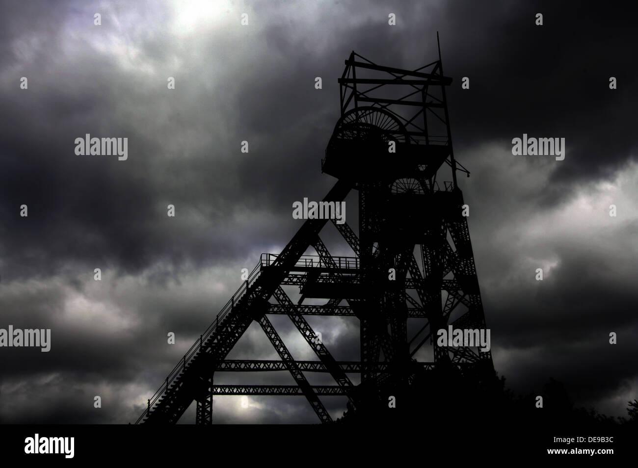 Colliery Pit Head winding Gear Lancs England UK - Stock Image