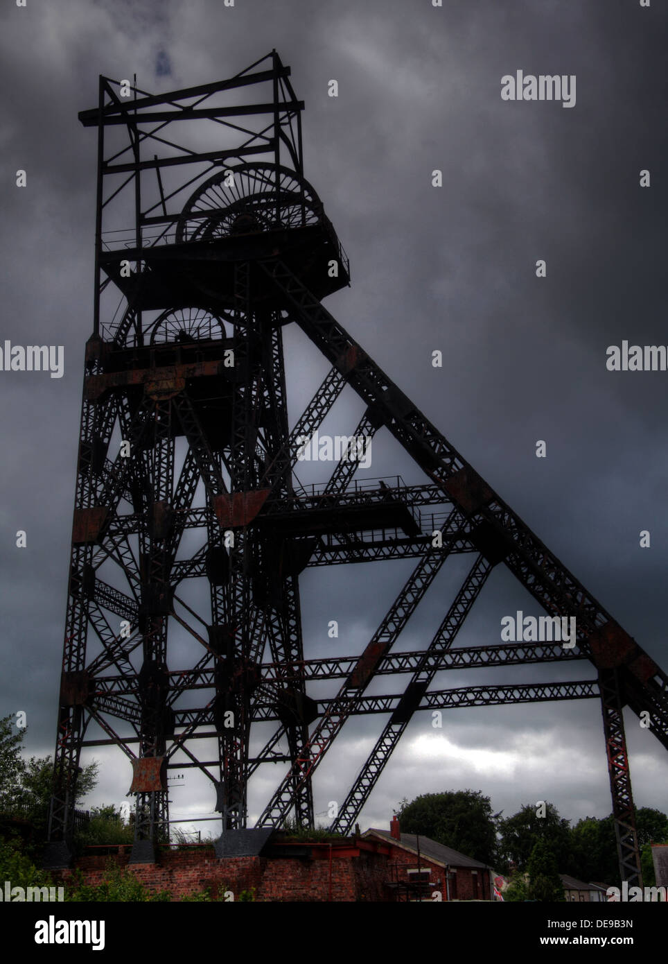 Colliery Pit Head winding Gear Lancs England UK - Stock Image