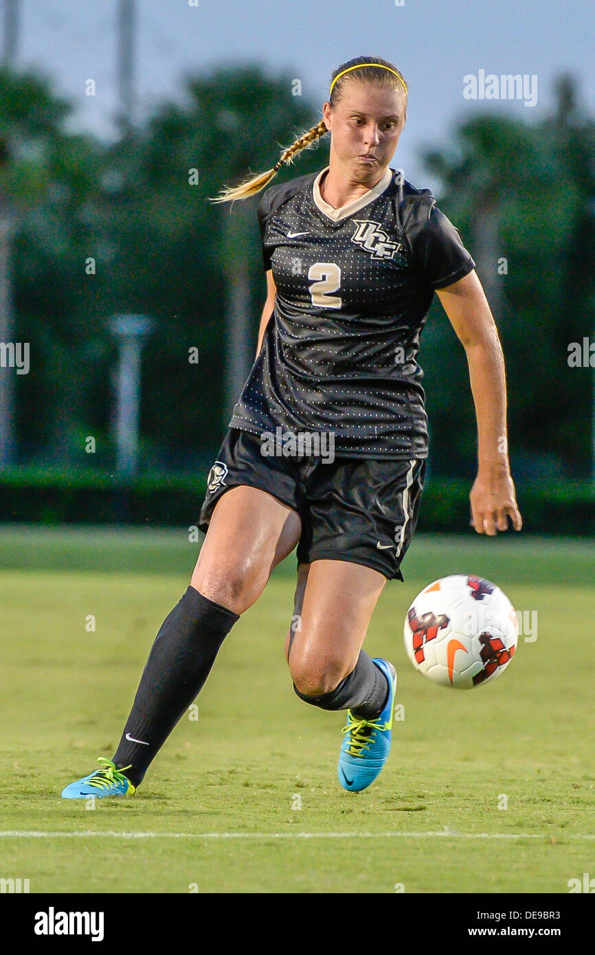 Orlando, FL, USA. 13th Sep, 2013. UCF Knights d/m Ashley Nicol (2) during women's soccer game action between the Stetson Hatters and the UCF Knights. UCF defeated Stetson 4-0 at the UCF Track and Soccer Complex in Orlando, Fl. © Cal Sport Media/Alamy Live News - Stock Image