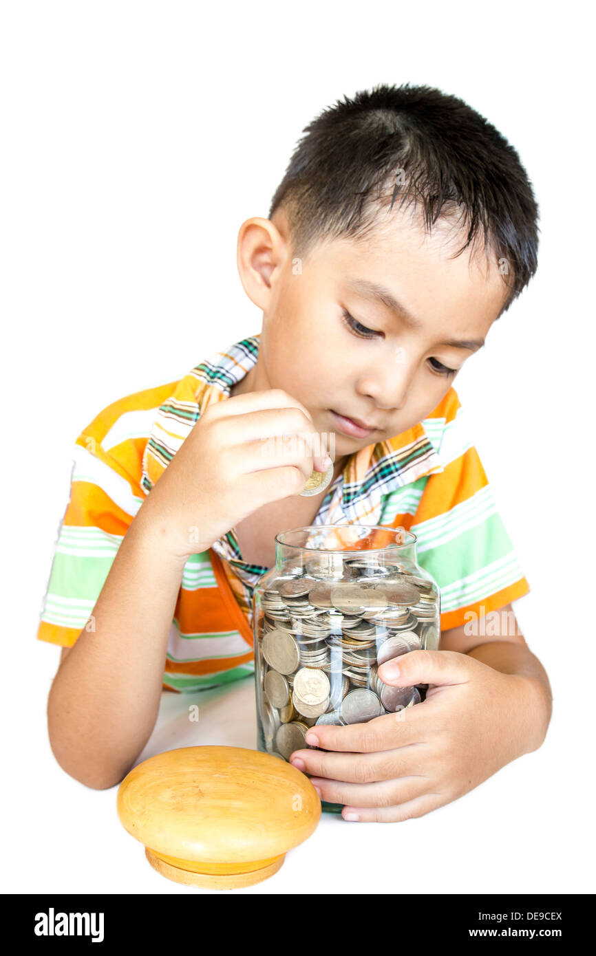 attractive bank banking big boy business cash caucasian cheerful child closeup coin column counting currency cute deposit dollar - Stock Image