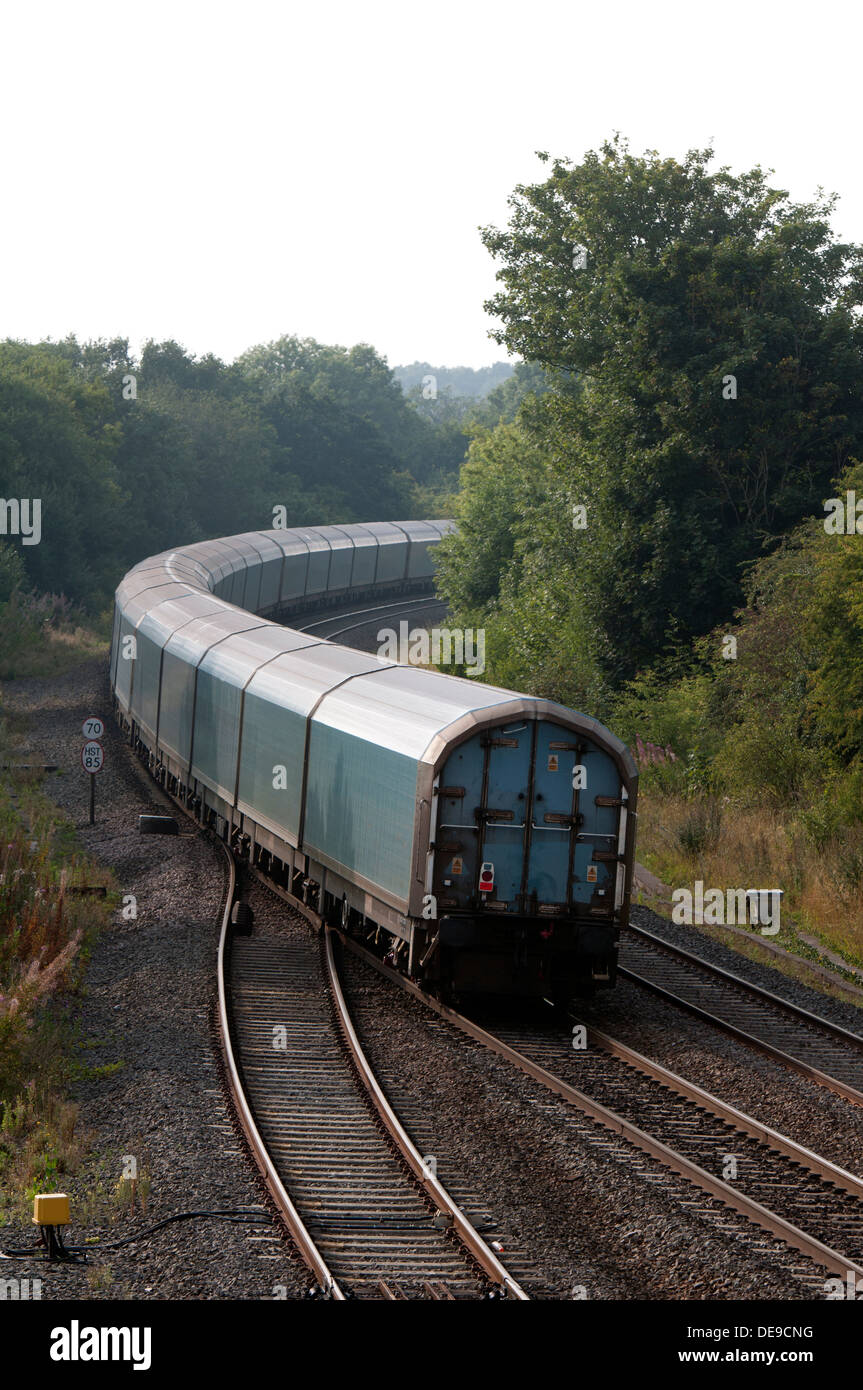 Back end of a covered car train, Hatton, Warwickshire, UK - Stock Image