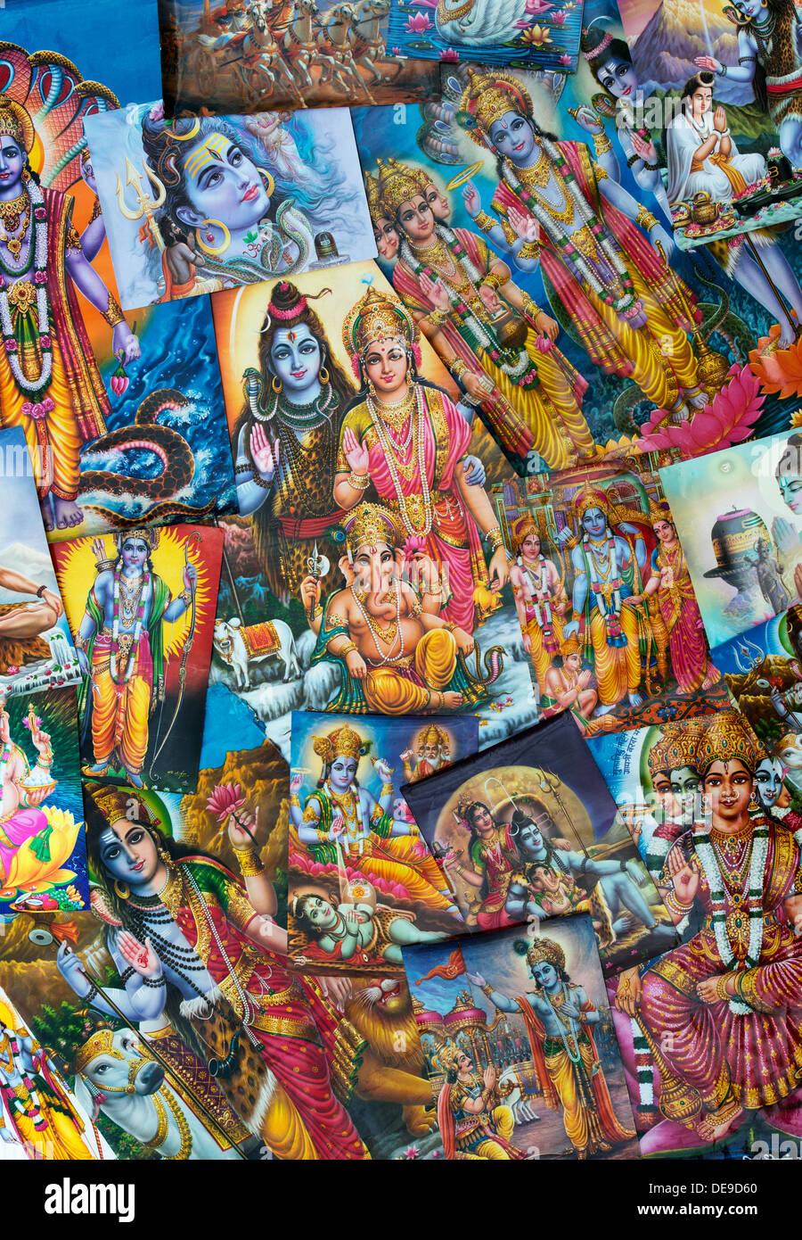 Indian Deities on Hindu posters - Stock Image