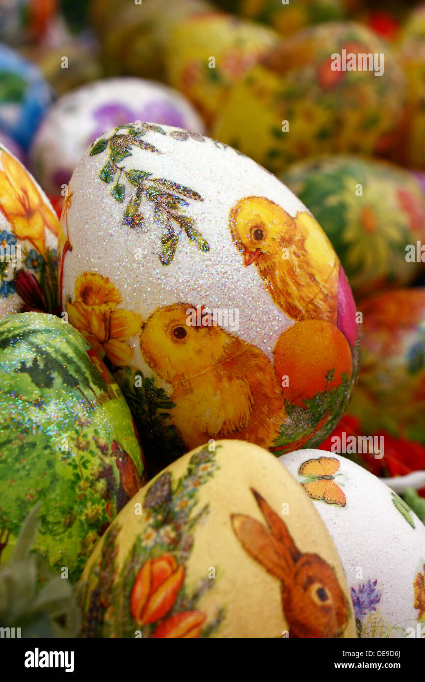 Easter egg, chicken egg with decoration in decoupage technique Stock Photo