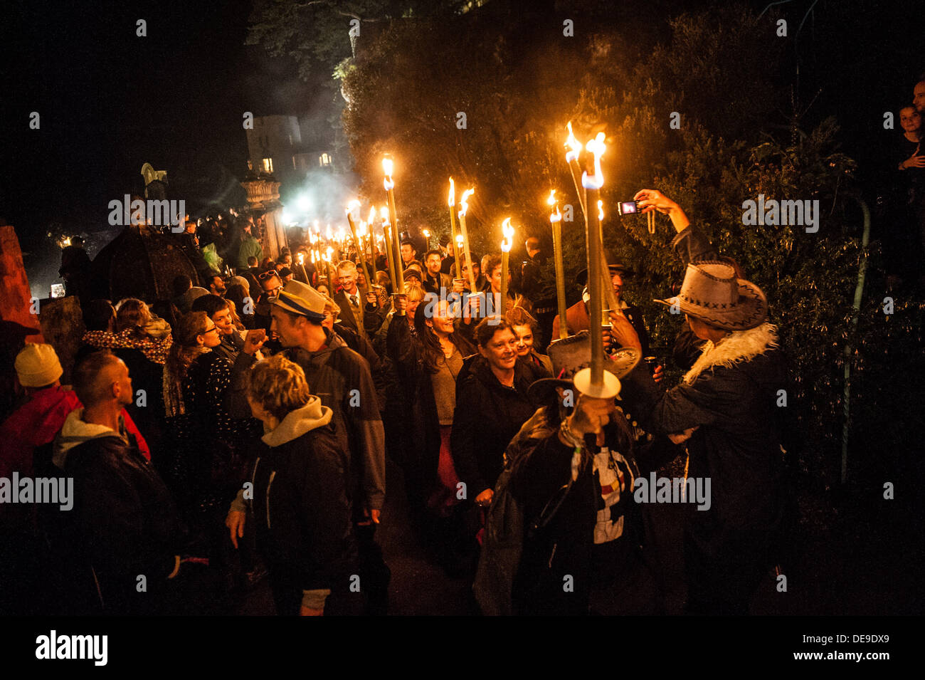 Portmeirion, North Wales, UK . 13th Sep, 2013. The torchlight procession at the end of the first day of the 2013 Stock Photo