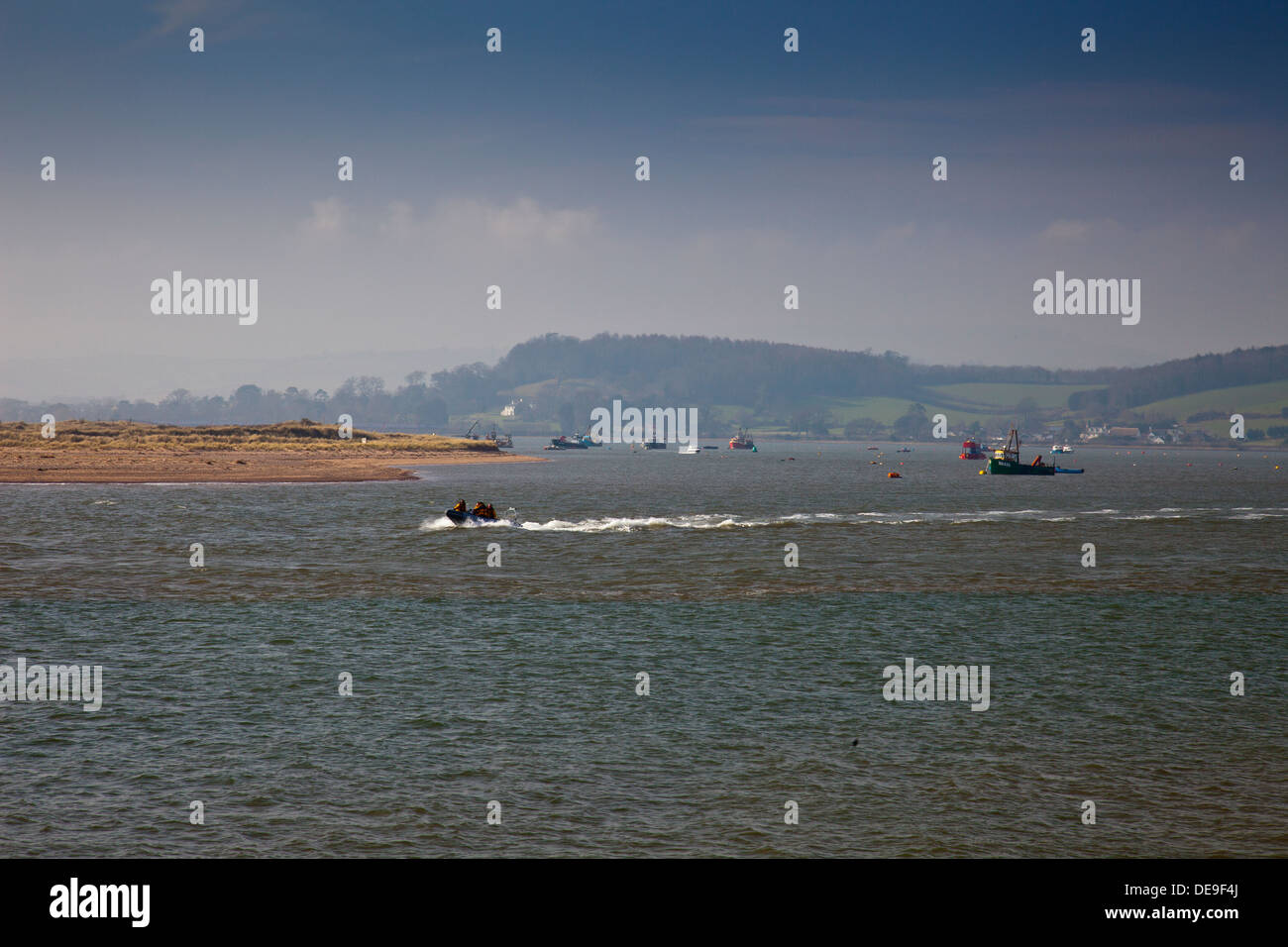 The Exmouth lifeboat crew practicing in the River Exe estuary at Exmouth, Devon, England, UK - Stock Image