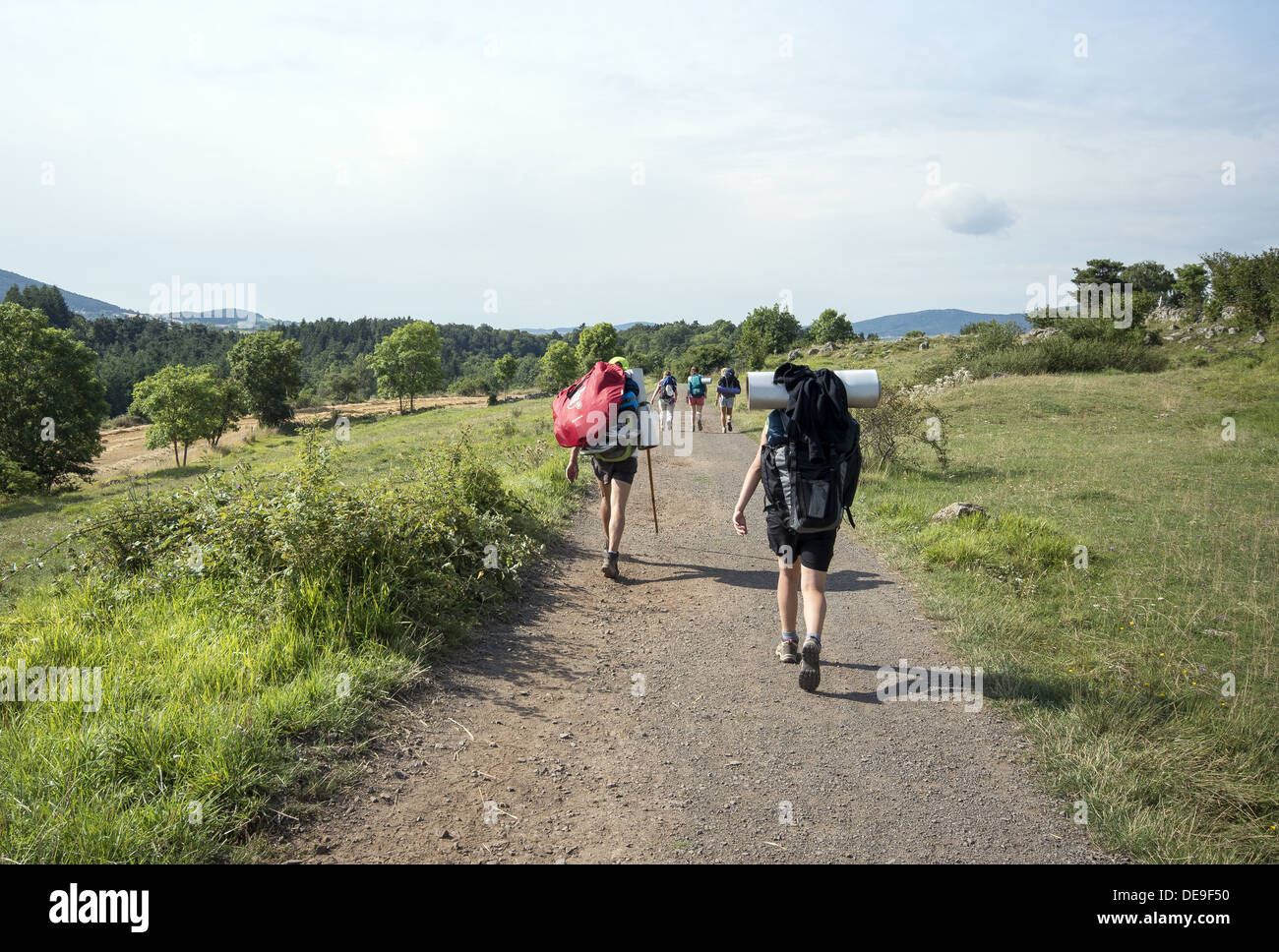 Pilgrims on the GR65 walking route the Way of St James in the Auvergne region of France Stock Photo