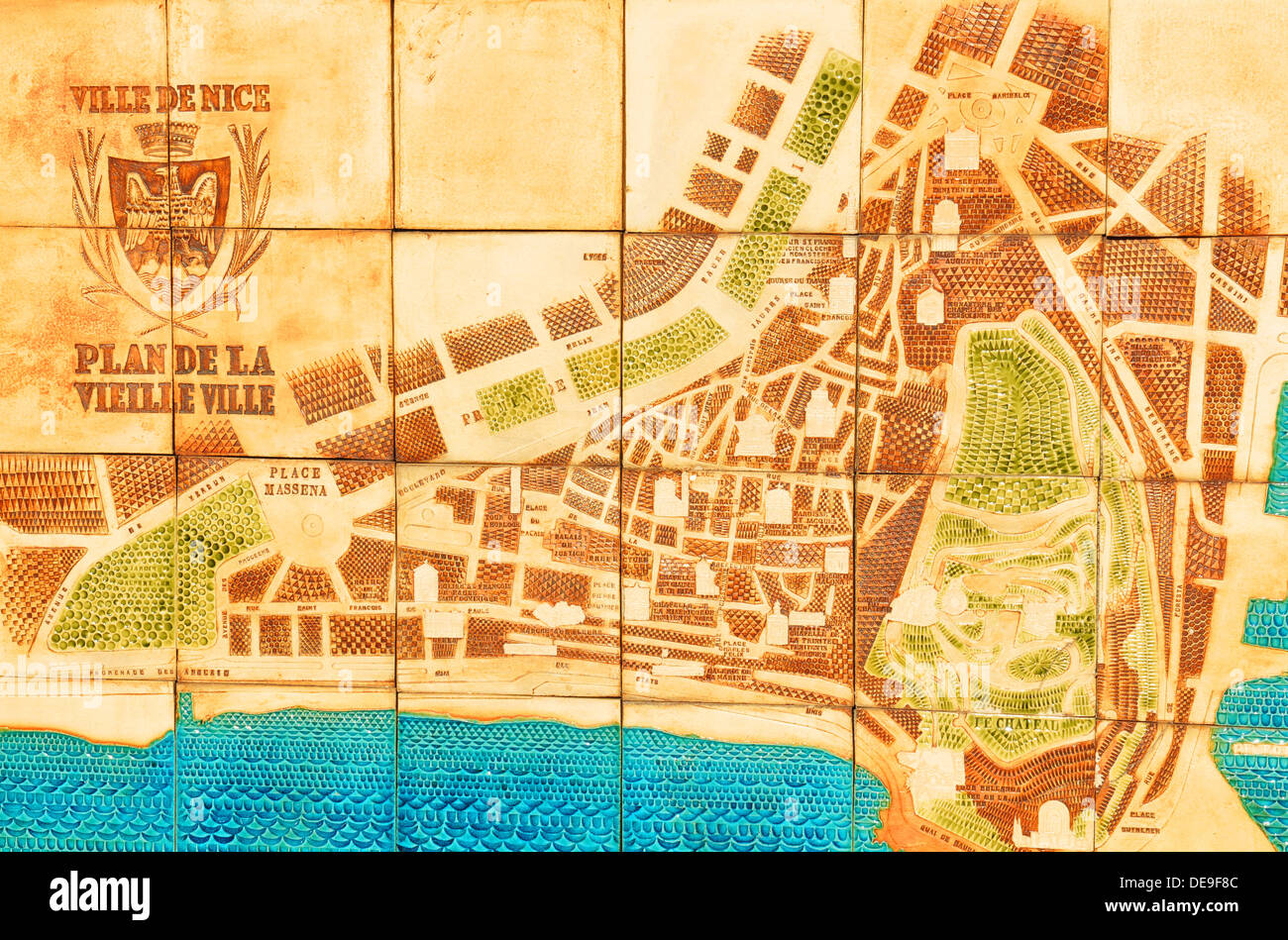 Nice France 29 July 2013 Old Map Of The City On Display At The