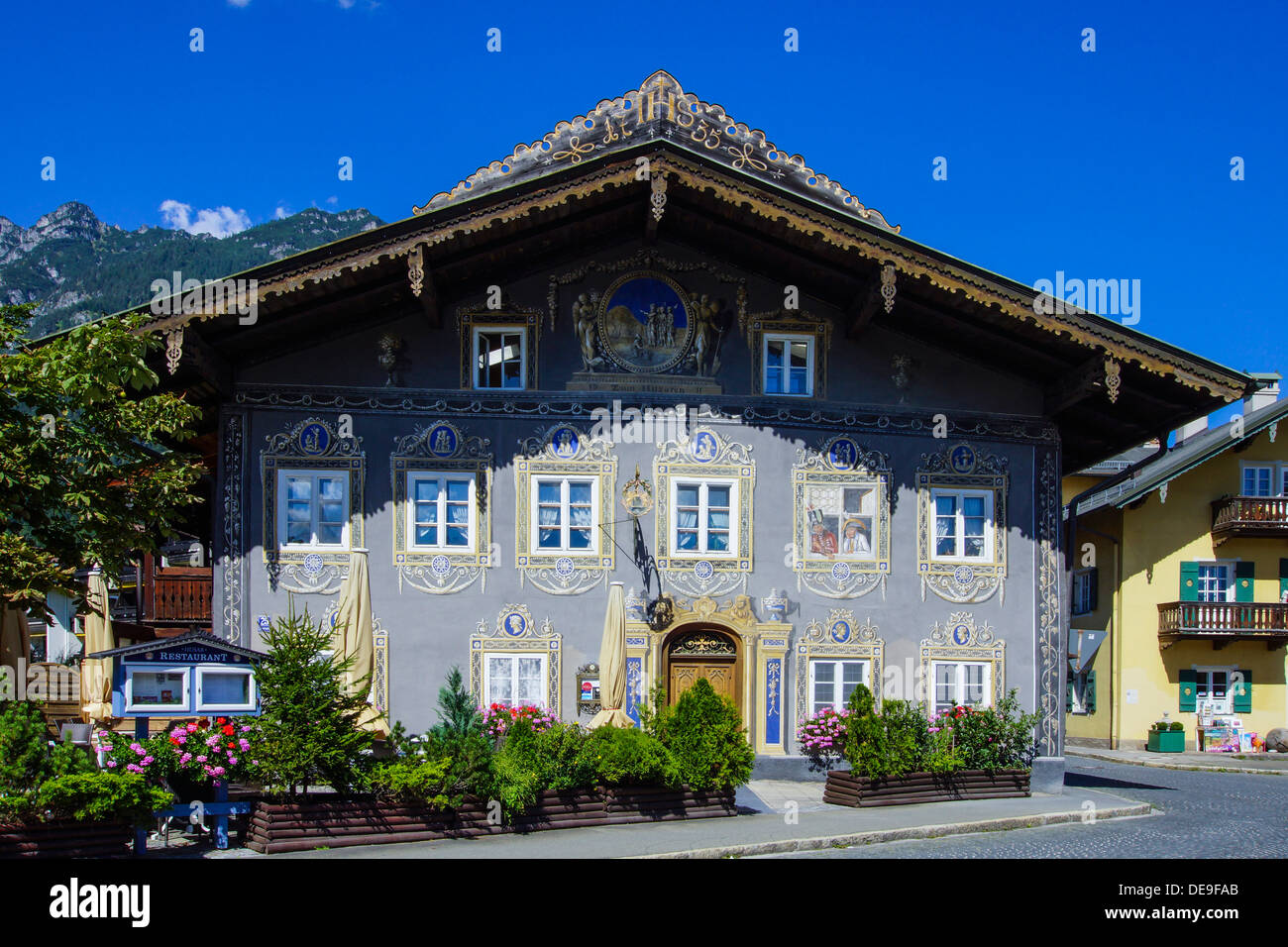 Garmisch-Partenkirchen, Garmisch, Partenkirchen, The Inn Husar, Werdenfels, Bavaria, Upper Bavaria, Germany - Stock Image