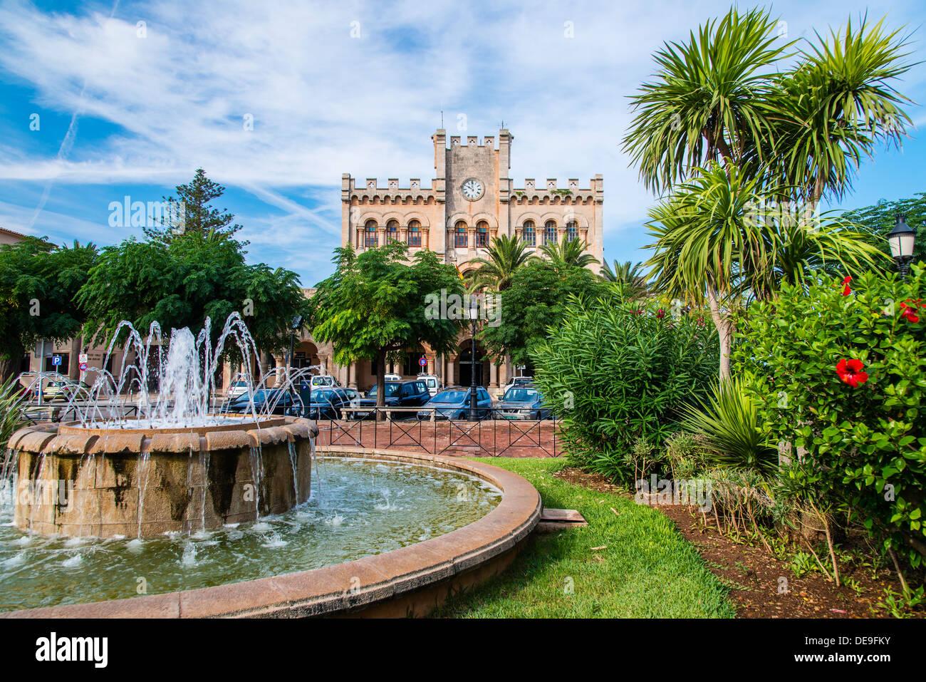 Plaça d'es Born square, Ciutadella, Minorca or Menorca, Balearic Islands, Spain - Stock Image