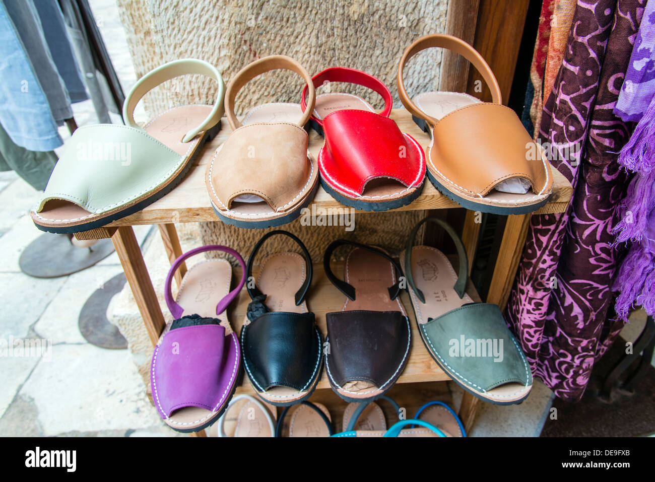 Typical menorquinas sandals, Ciutadella, Minorca or Menorca, Balearic Islands, Spain - Stock Image