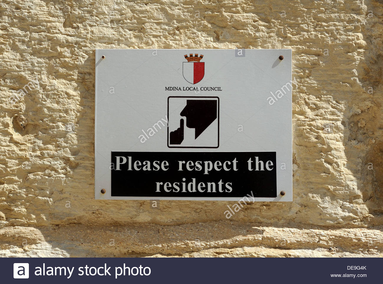 Mdina Malta Sign - please respect the residents. - Stock Image